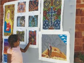 Paintings celebrating the Arrernte Bible launch
